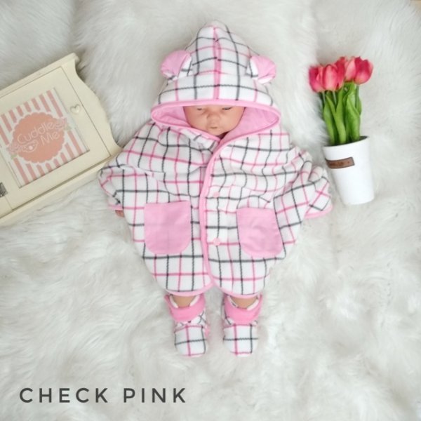 Jual- Baby Cape set Check Pink