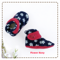 fitted-booties-prewalker- Flower Navy Motif